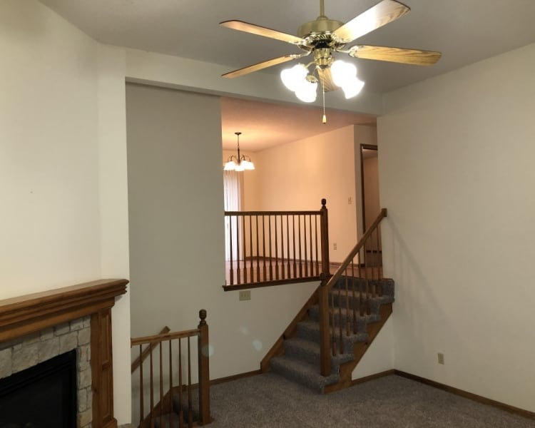 Very nice, unique split-level duplex home available for rent in Platte City!